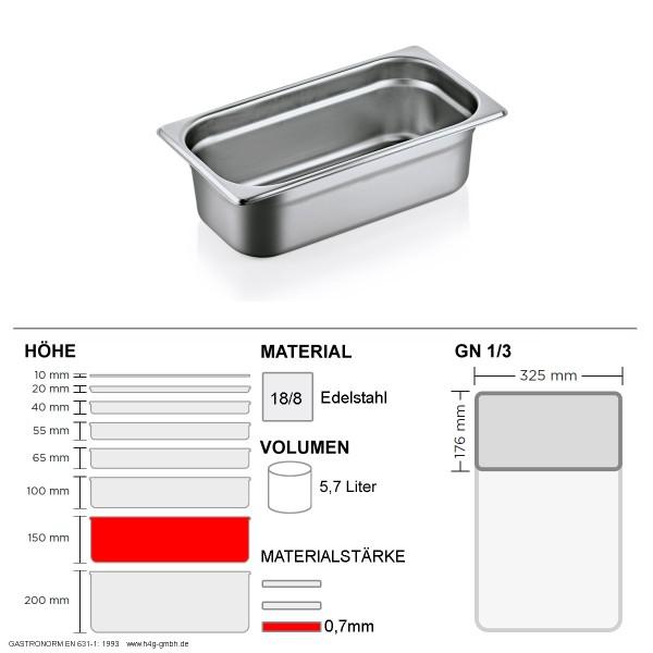 Gastronorm Behälter GN 1/3 - 150mm - GN90 - 18/8 Edelstahl - 0,7mm