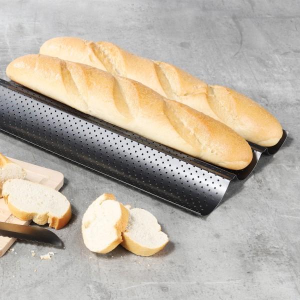 Baguetteblech für 3 Brote - Ideal für Knoblauch-/Kräuterbaguett - 38cm - Carbonstahl