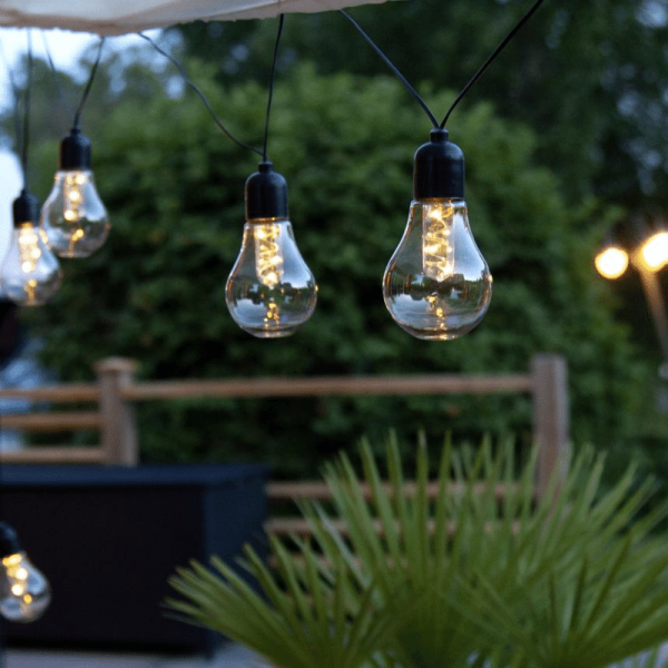"LED Party Lichterkette ""Glow"" - 10 Birnen á 3 warmweiße LED - L: 4,05m - Batterie - Timer - outdoor"