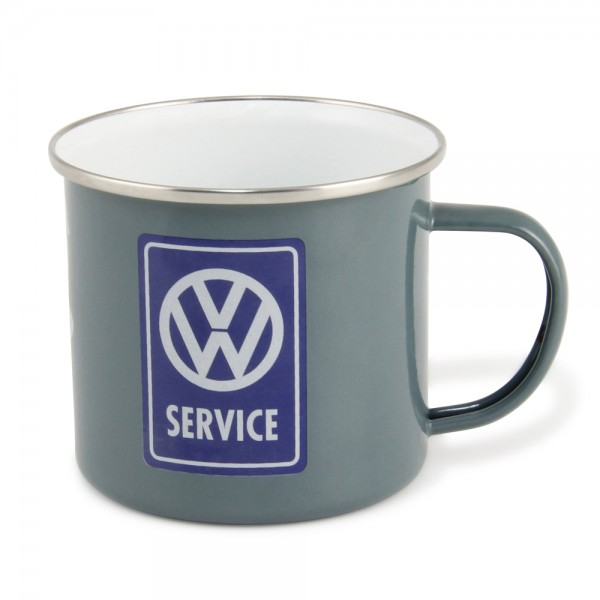 "VW Collection Emaille Tasse ""VW SERVICE GREY"" - 500ml - mit Edelstahlrand"