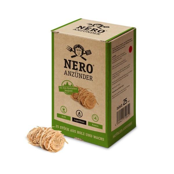 NERO Grillanzünder aus zertifizierter Forstwirtschaft - 25 Stück Holznester mit Wachs