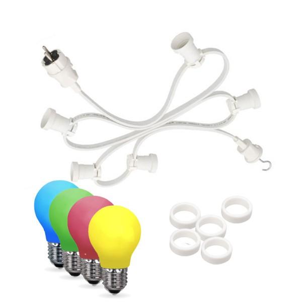 Illu-/Partylichterkette 20m   Außenlichterkette weiß   Made in Germany   20 x bunte LED Tropfenlampe