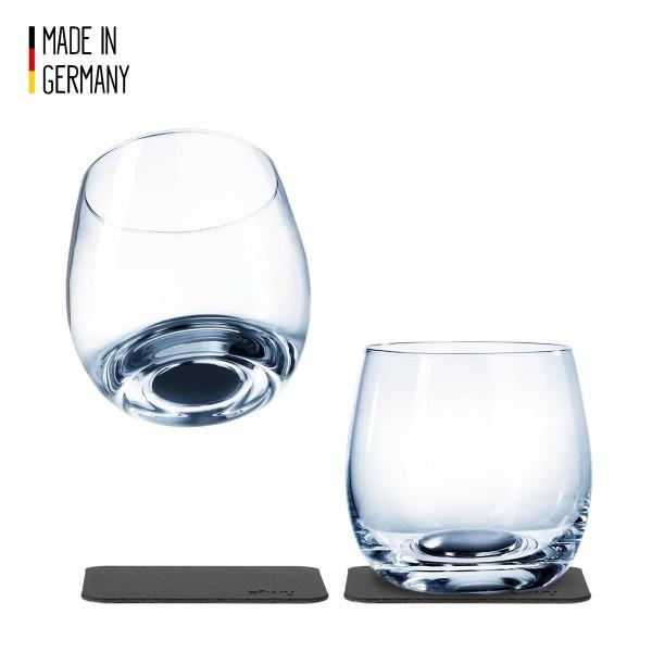SILWY - Kristallgläser - 2er-Set + 2 Metall-Nano-Gel-Pads - Whisky Gläser